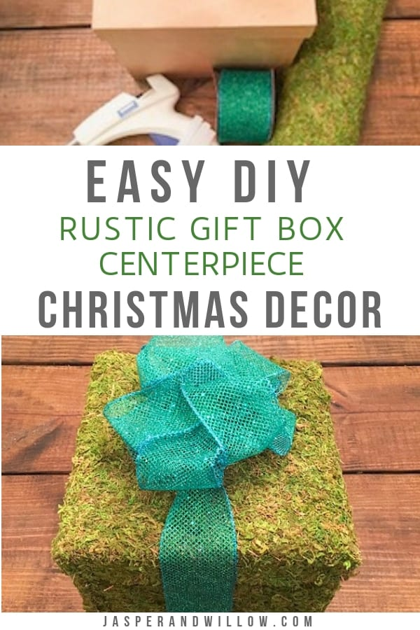 diy rustic Christmas decor moss wrapped gift box centerpiece