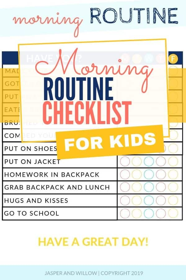 morning routine for kids checklist